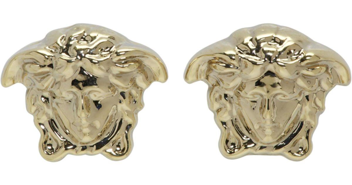 44278d241 Versace Gold Mini Medusa Earrings in Metallic - Lyst