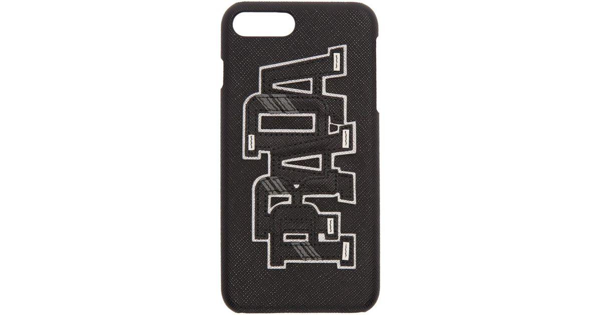 3339bae69d90 Prada Black Saffiano Logo Iphone 7 Plus Case in Black for Men - Lyst