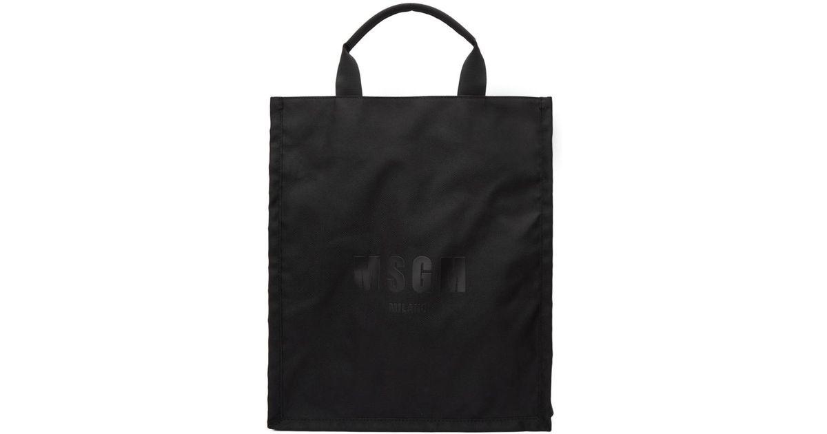 3a9644a695 Lyst - MSGM Black Logo Tote in Black for Men