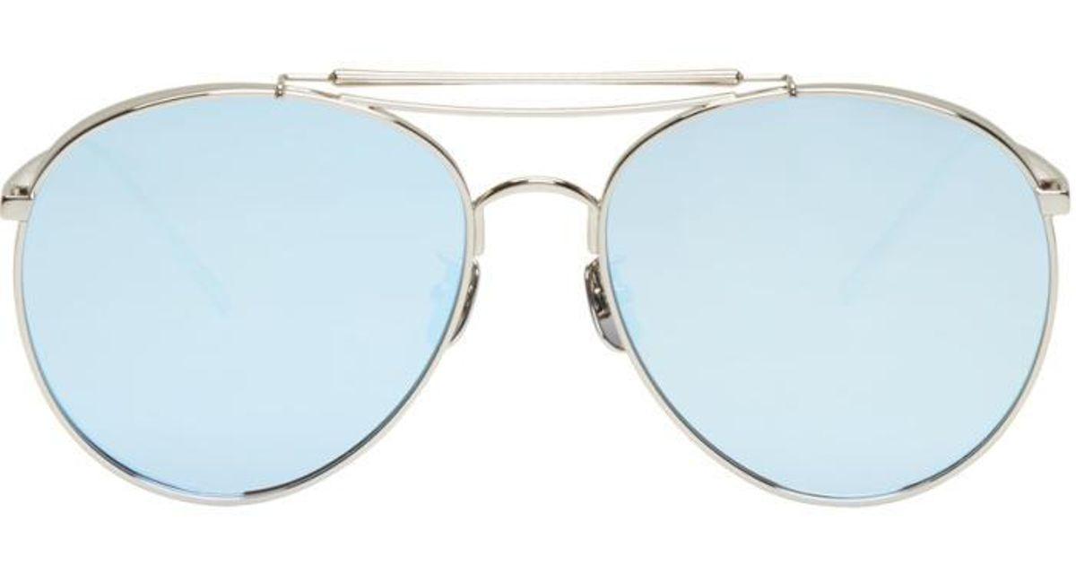 bc07d5251e Lyst - Gentle Monster Silver   Blue Big Bully Aviator Sunglasses in  Metallic for Men