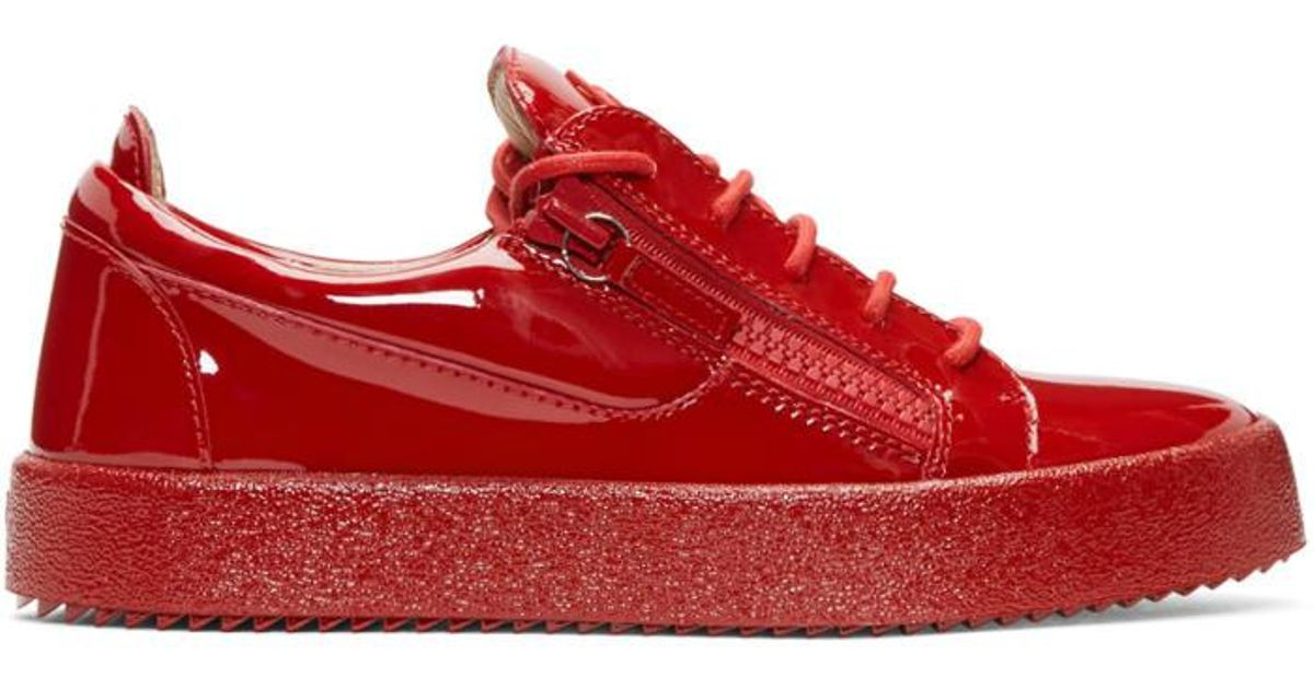 8ee59476c0d Lyst - Giuseppe Zanotti Red Patent Leather London Sneakers in Red for Men