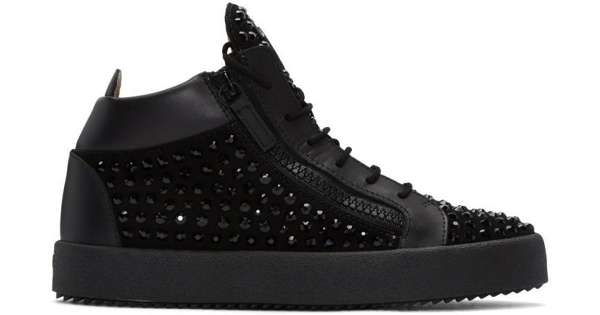 Giuseppe Zanotti Black Crystal London High Top Sneakers
