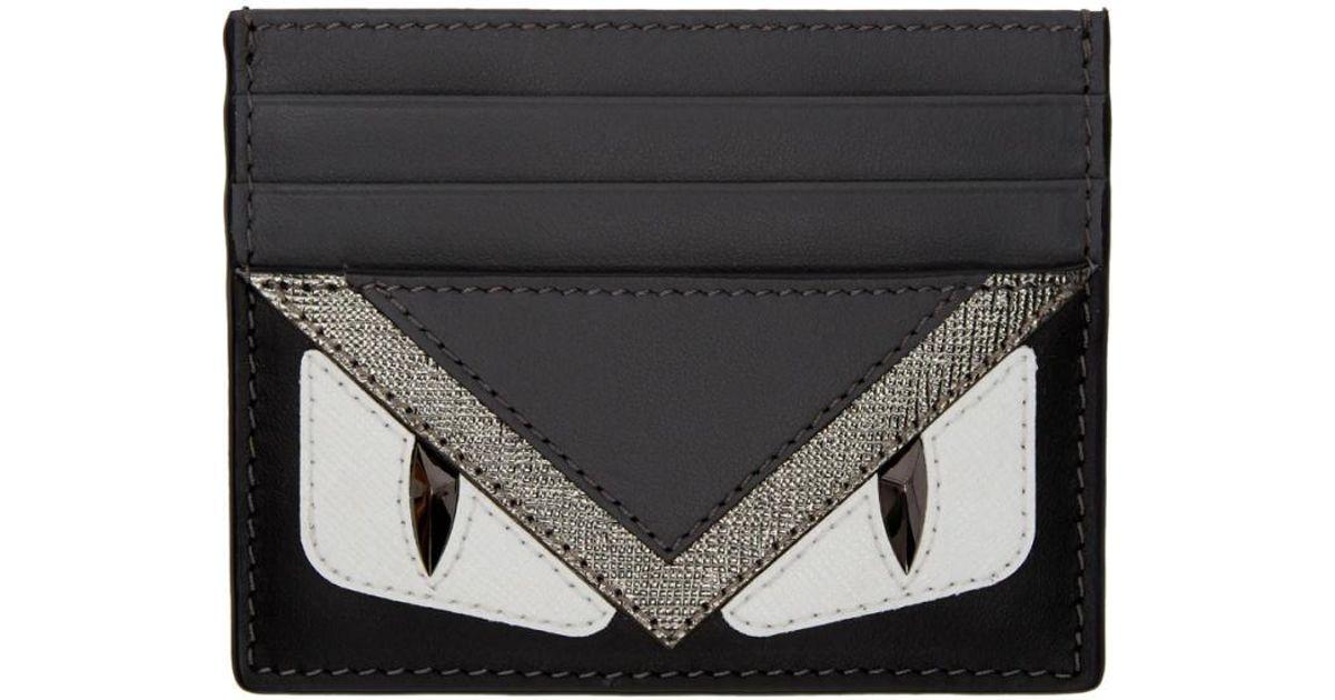 b1c6283b38f Lyst - Fendi Black   Grey  bag Bugs  Card Holder in Black for Men