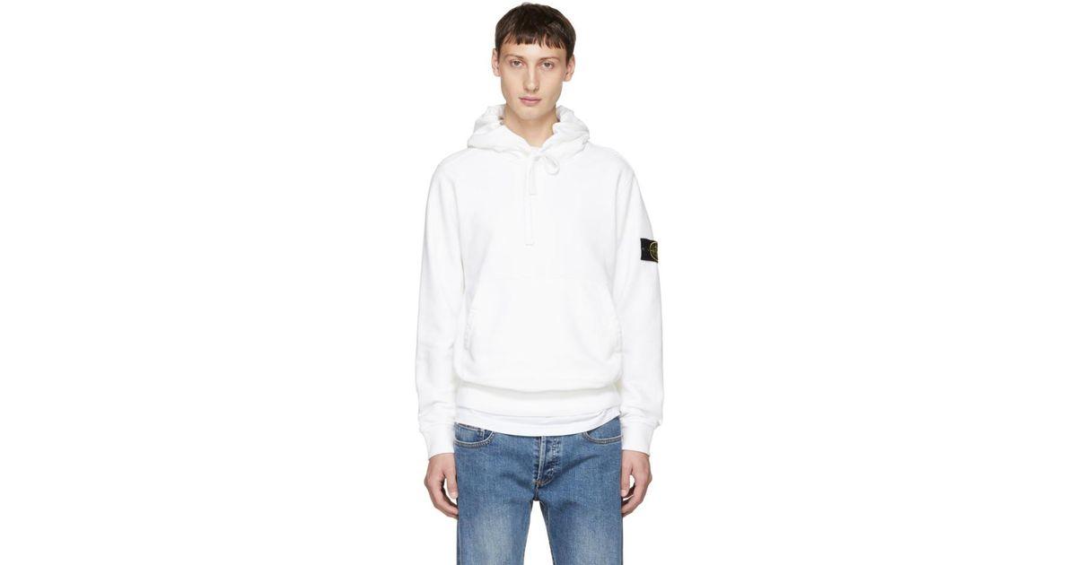 2019 original style limité acheter pas cher Stone Island - White Logo Arm Badge Hoodie for Men - Lyst