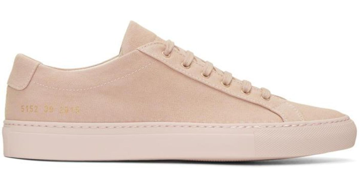 7157e03a6651 Lyst - Common Projects Pink Canvas Achilles Low Sneakers in Pink for Men