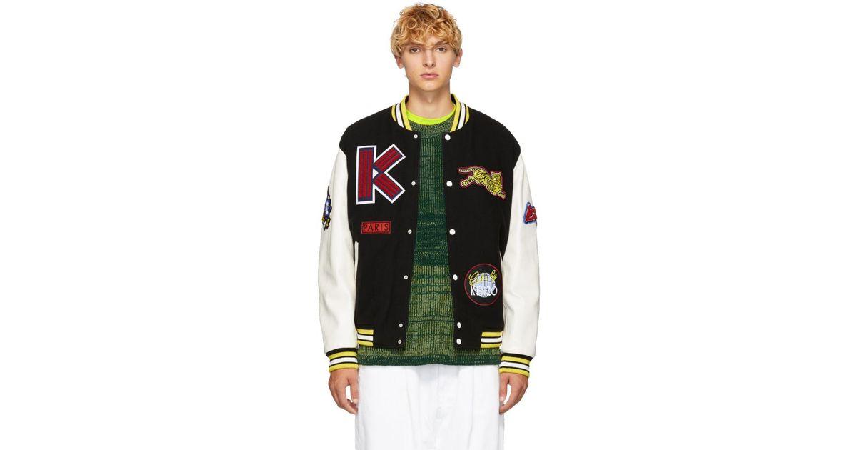 Blouson en laine et cuir noir Varsity KENZO pour homme en coloris Black