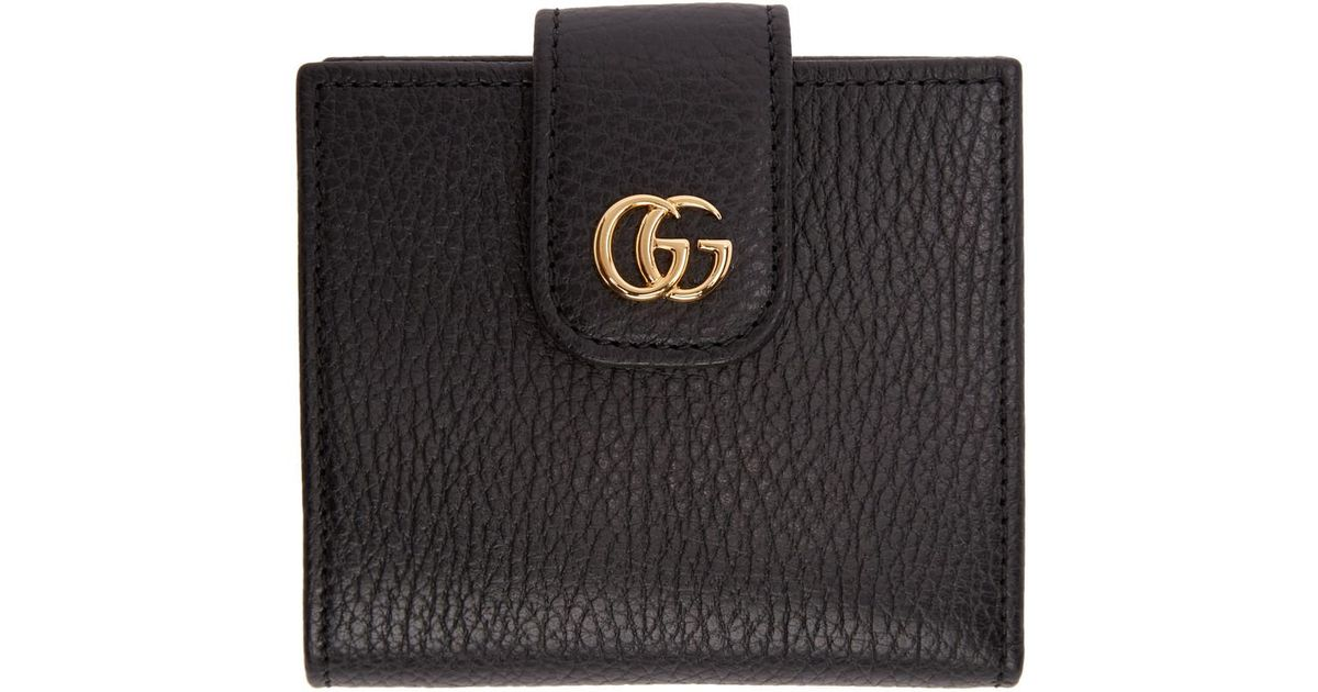 04b675e6dc4 Gucci Black Small Marmont Snap Card Case Wallet in Black - Lyst