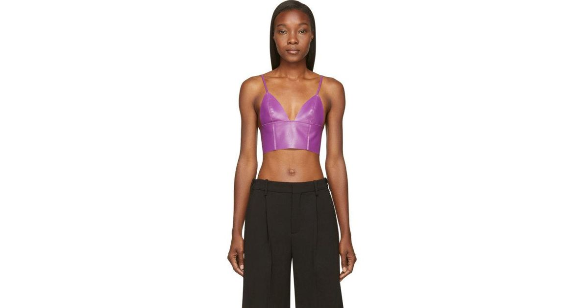 5d17c1819ac6d T By Alexander Wang Purple Lether Raw-edged Triangle Bralette in Purple -  Lyst