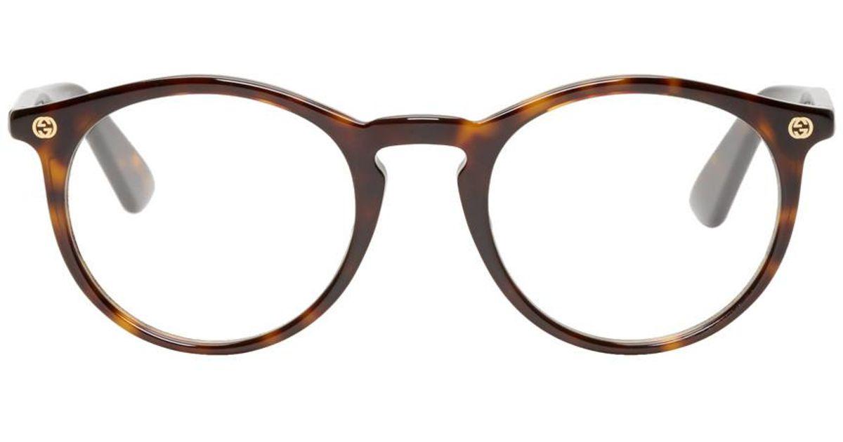 9e097762be Lunette rondes ecailles de tortue Gucci pour homme - Lyst