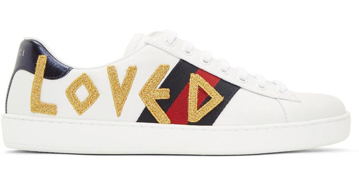 08184b7fbf3 Lyst - Gucci White Loved New Ace Sneakers in White for Men