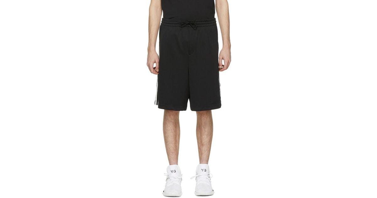 8fe9b5eeb13ef Y-3 Black 3-stripes Track Shorts in Black for Men - Lyst