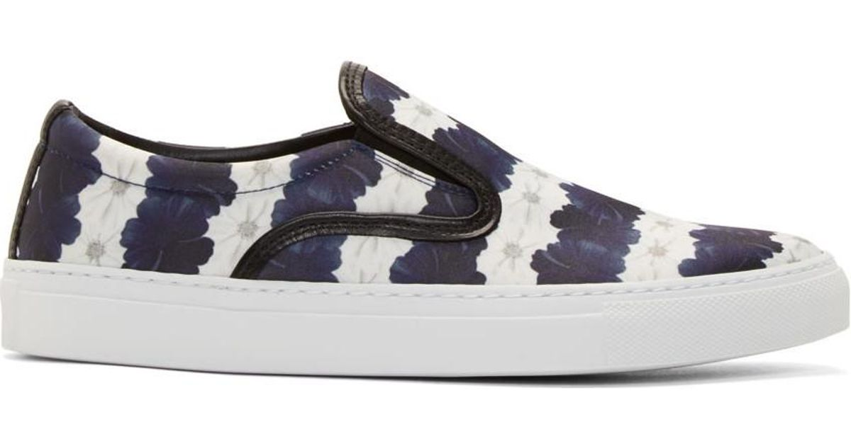 Sale 2018 Newest Cheap Sale Footlocker Pictures White and Navy Floral Stripe Achilles Slip-On Sneakers Mother Of Pearl Countdown Package Online For Nice Sale Online Get Authentic Online QdR8lv5V0