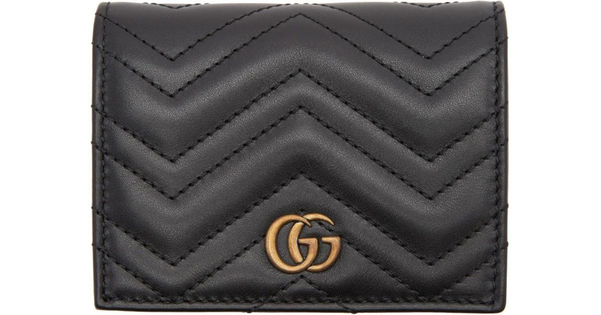 09d934cf0f39 Gucci Black Small GG Marmont Wallet in Black - Save 11% - Lyst
