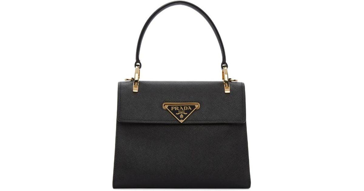 Lyst - Prada Black Mini Top Handle Bag in Black 8f63e67cd1d1a