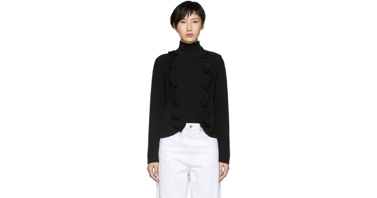Black Vertical Ruffle Turtleneck Red Valentino Low Cost For Sale Pay With Visa Cheap Price 5flqE1D