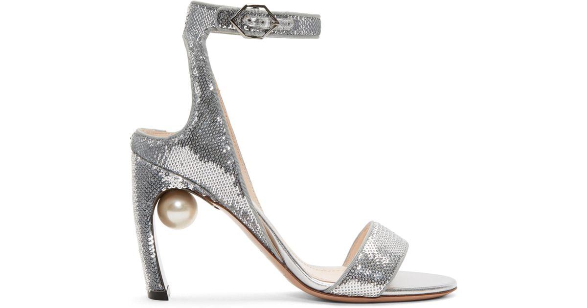 Nicholas Kirkwood Silver Sequin Lola Pearl Sandals rEEi2cTr
