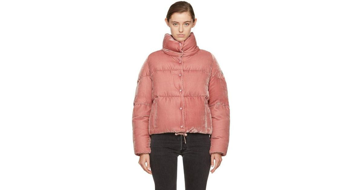 26070ba6fe Moncler Pink Velvet Down Cercis Jacket in Pink - Lyst