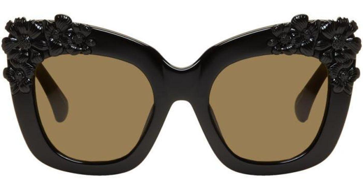 b0b17c7f05 Lyst - Erdem Black Linda Farrow Edition Cat-eye Flower Sunglasses in Black