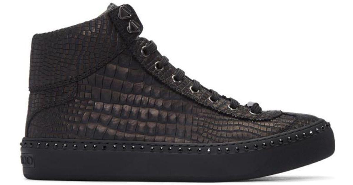 2968224766b1 Lyst - Jimmy Choo Gunmetal Croc-embossed Argyle High-top Sneakers for Men