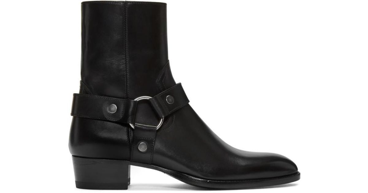 fc28a8a9309 Saint Laurent Black Leather Wyatt Harness Boots in Black for Men - Lyst