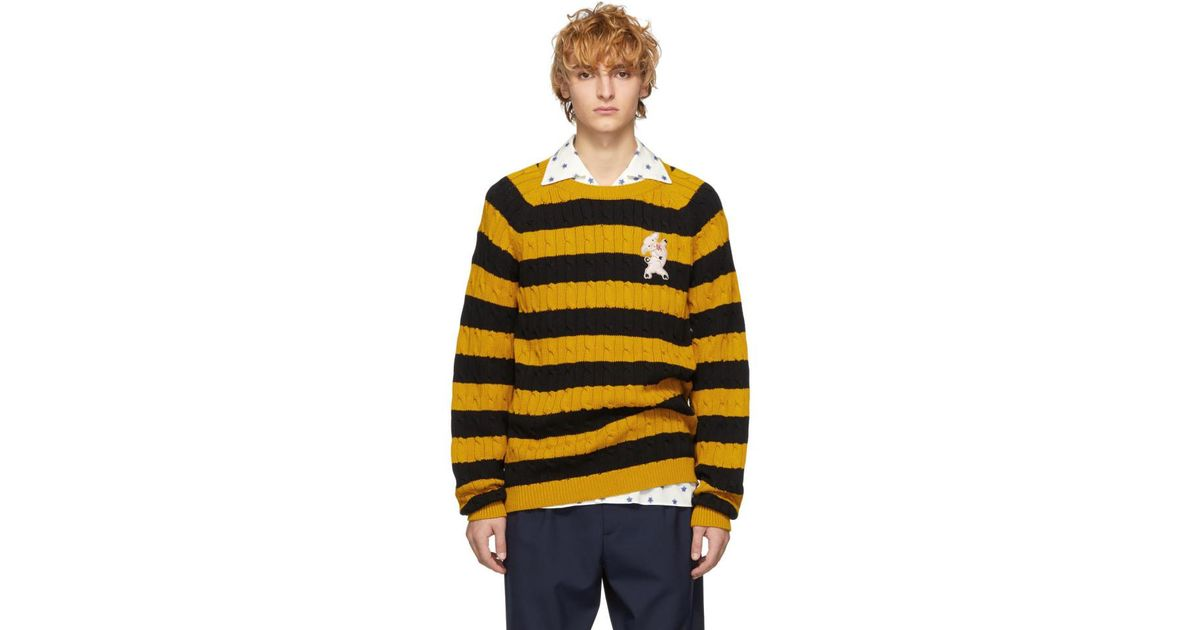 Lyst Gucci Black And Yellow Striped Embroidered Pig Sweater In
