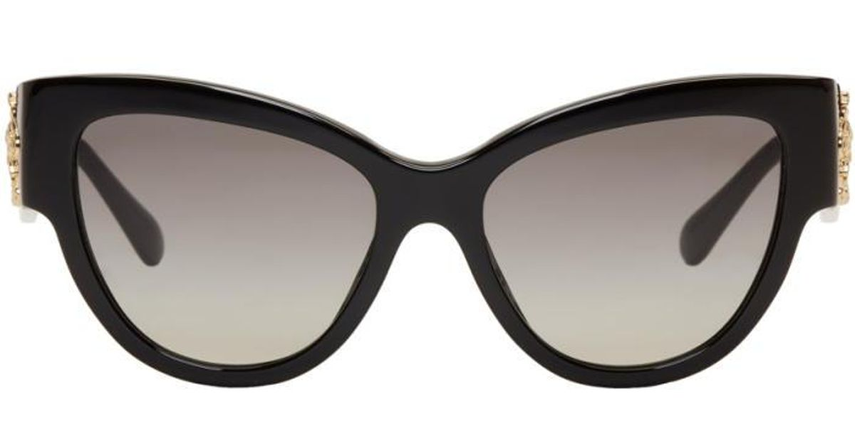 7cb0c02a5e5f Lyst - Versace Black Rock Icons Baroque Medusa Cat-eye Sunglasses in Black