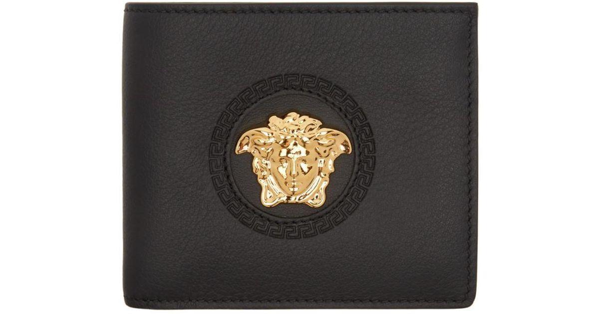 0cd3ca857c99 Lyst - Versace Black Medusa Bifold Wallet in Black for Men