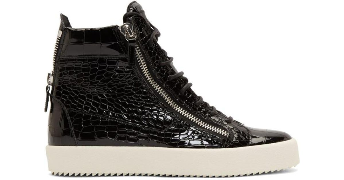 lowest price 74926 d40c5 Giuseppe Zanotti Black Patent Croc embossed London High top Sneakers in  Black for Men - Lyst