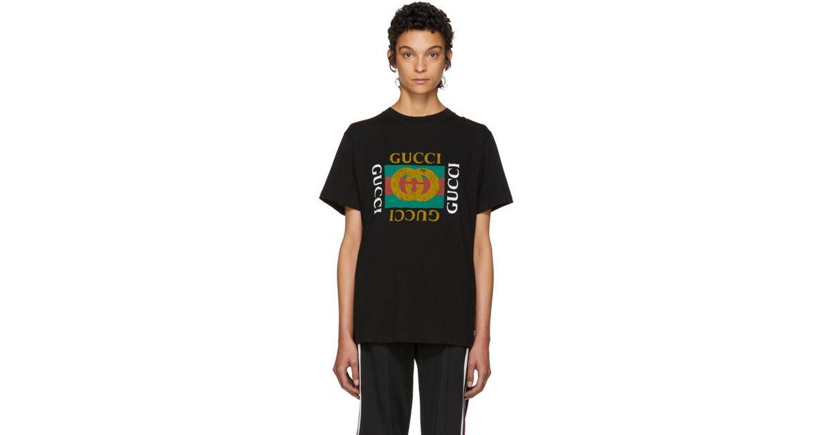 5bc634da0c76 Gucci Black Tiger Logo T-shirt in Black - Lyst