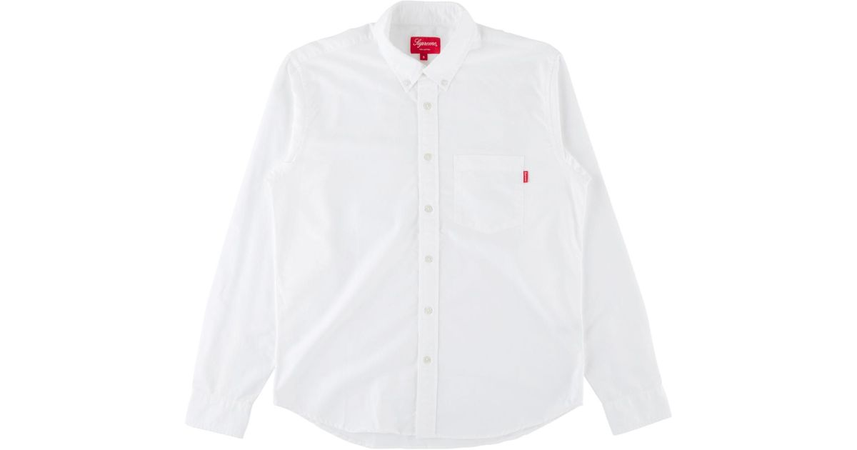 869a474b81c788 Supreme Oxford Shirt (fw18) White in White for Men - Lyst