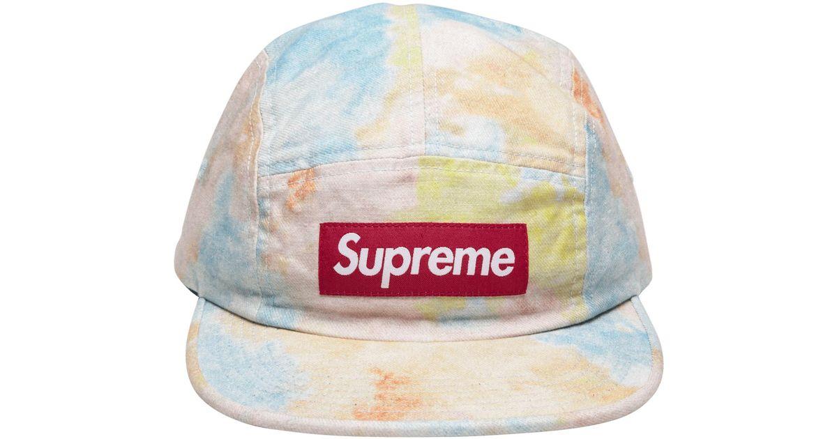 Lyst - Supreme Multicolor Denim Camp Cap in Blue for Men aed562eb659