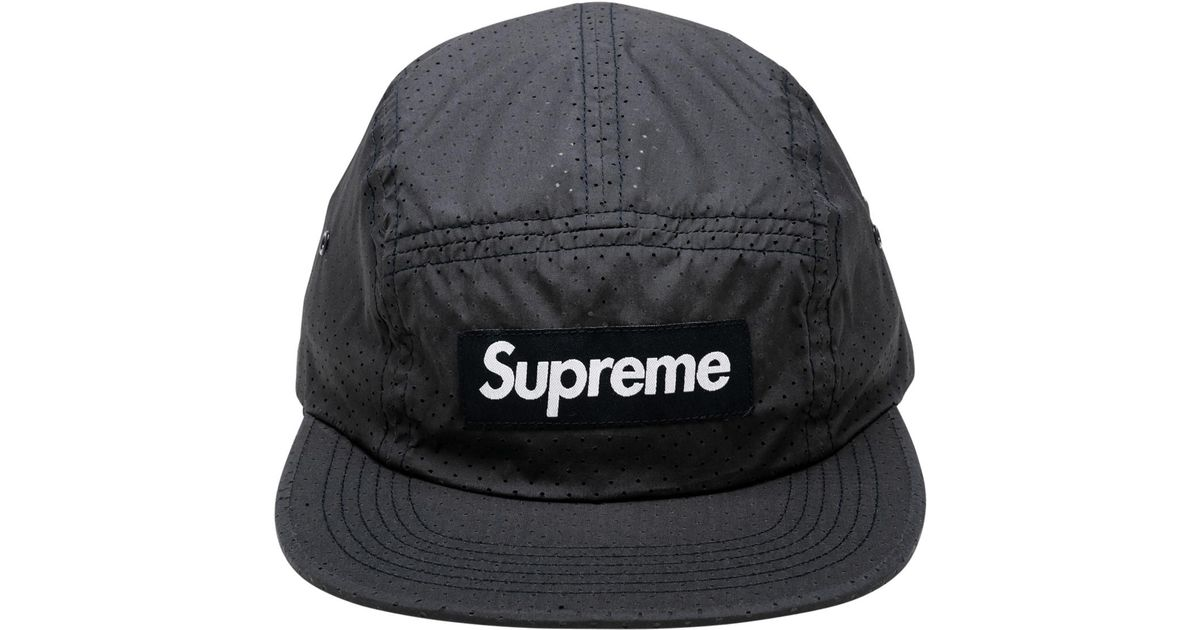7b6119b0caa Lyst - Supreme Perforated Camp Cap in Blue for Men