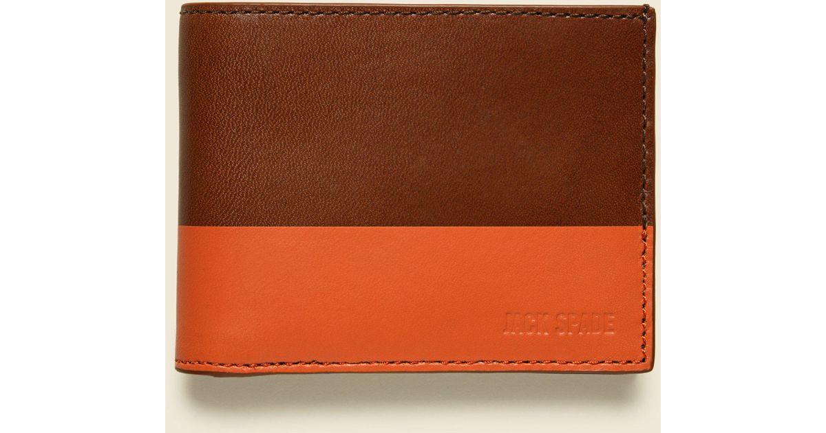 1d4bb6345af3d Lyst - Jack Spade Dipped Leather Slim Billfold - Tobacco orange in Orange  for Men