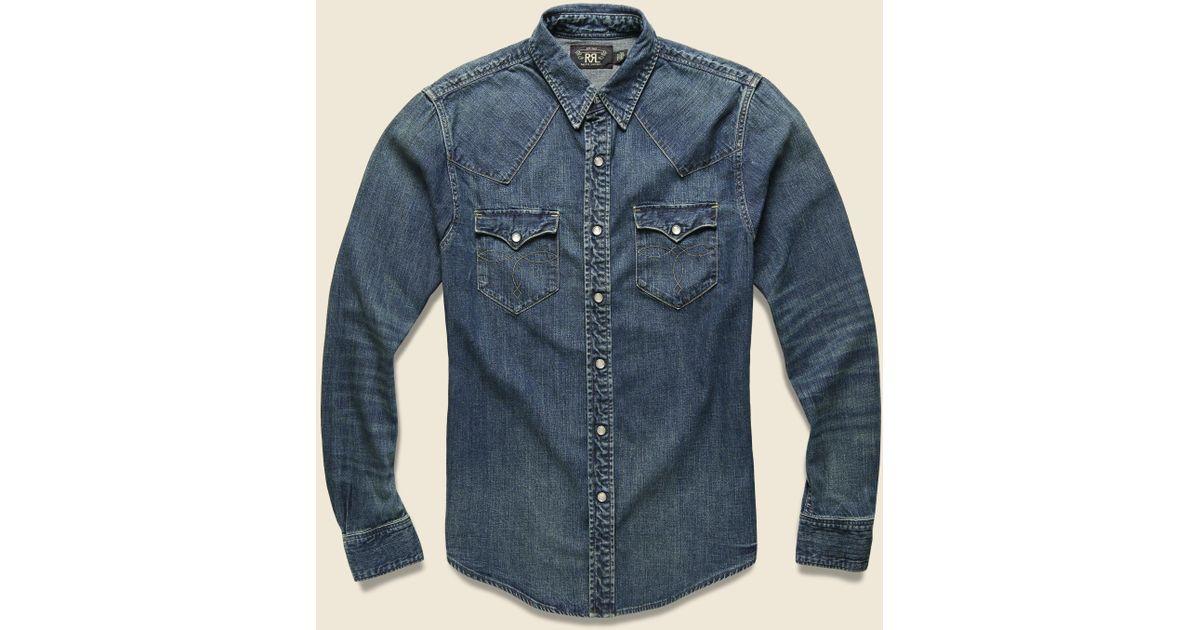 37ae346faa Lyst - RRL Slim Denim Buffalo Western Shirt - Dark Wash in Blue for Men
