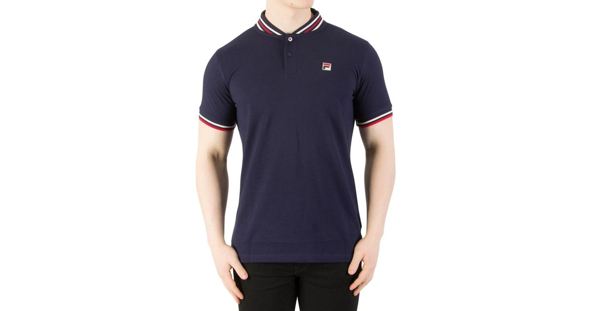 6825a3a1cf6a Fila Vintage Peacoat/gard/chinese Red Skipper Baseball Collar Polo Shirt in  Red for Men - Lyst