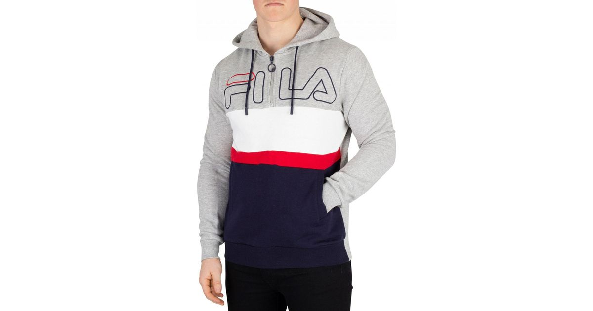 d5bbd67c7591 Fila Vintage Light Grey Marl Rumi Colour Block 1/4 Zip Hoodie in Gray for  Men - Lyst