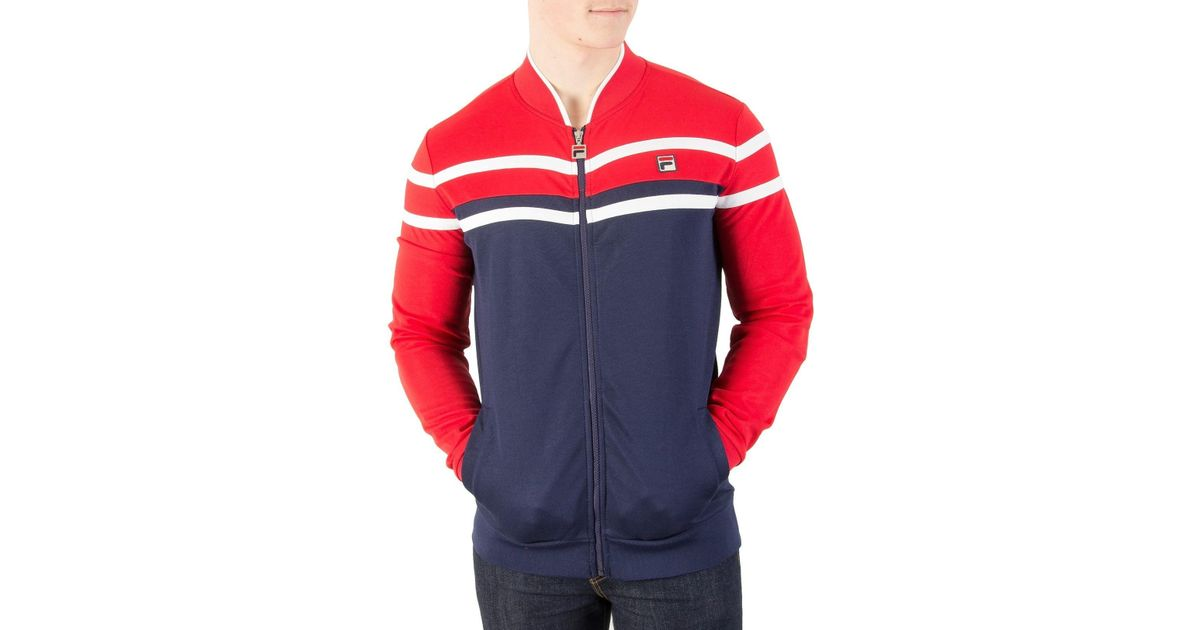 0baef77f670 Fila Vintage Peacoat/chinese Red/cream Naso Chest Stripe Track Jacket in Red  for Men - Lyst