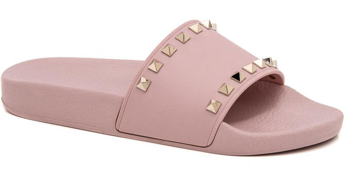 5154add04323 Lyst - Valentino Water Rose Rockstud Slide Sandal in Pink