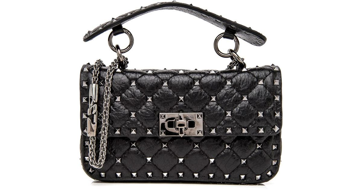 f2d6ff87d04 Valentino Black Small Rockstud Spike Chain Bag in Black - Lyst