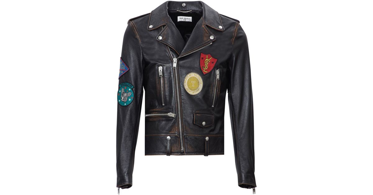 Saint laurent vintage badge appliqué leather biker jacket in black