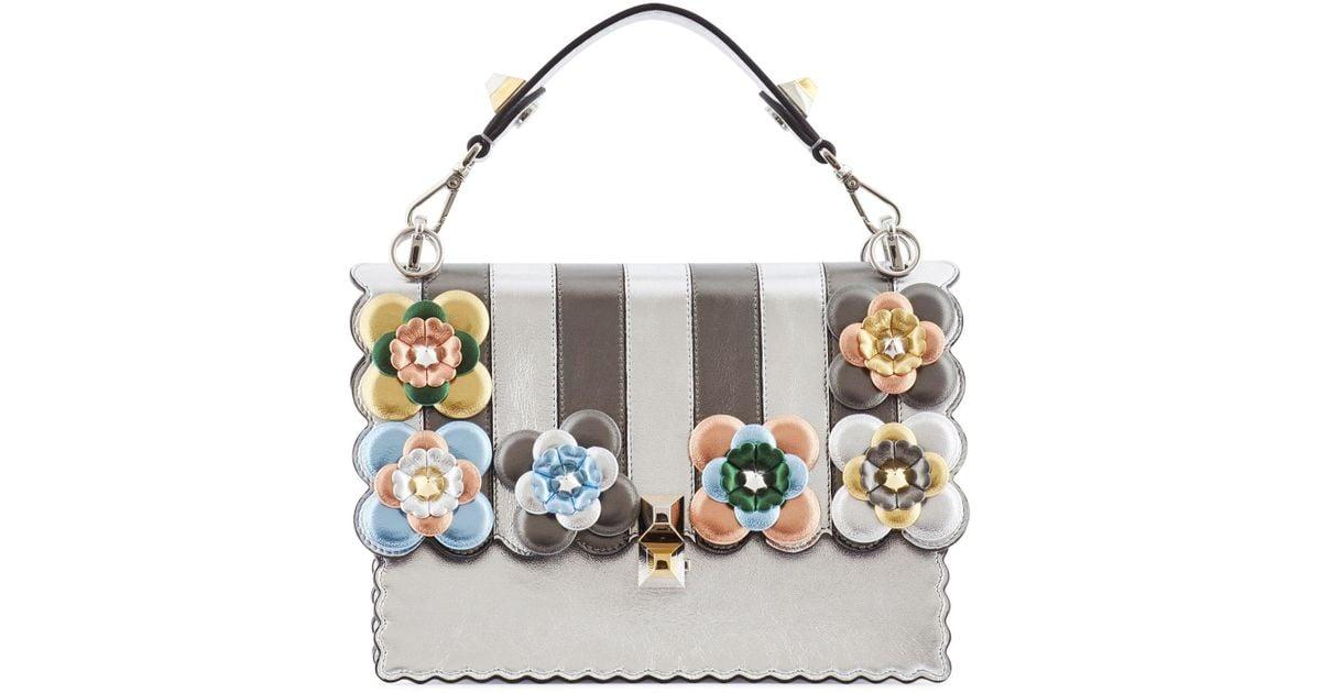 Lyst - Fendi Kan I Stripes And Flowers Metallic Leather Bag in Metallic e5314f7464f2c
