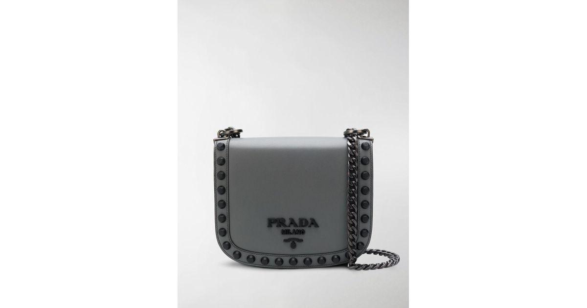 f395d974c1580e Prada Logo Plaque Stud Crossbody in Gray - Lyst