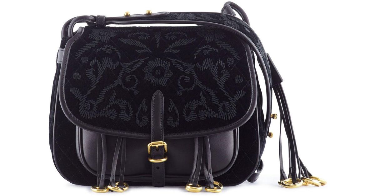 0ceab3ca39bc Prada Corsaire Embroidered Velvet And Leather in Black - Lyst