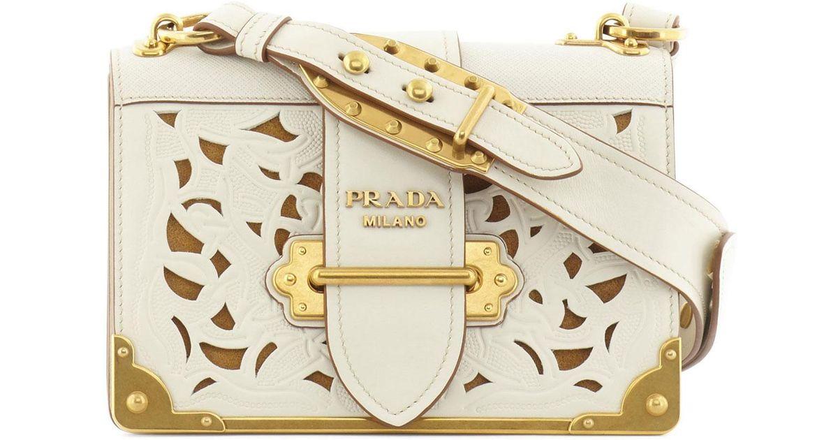 ... australia lyst prada cahier cut out leather bag in white 7c8e0 2fa2d 5b25aefd7b72c