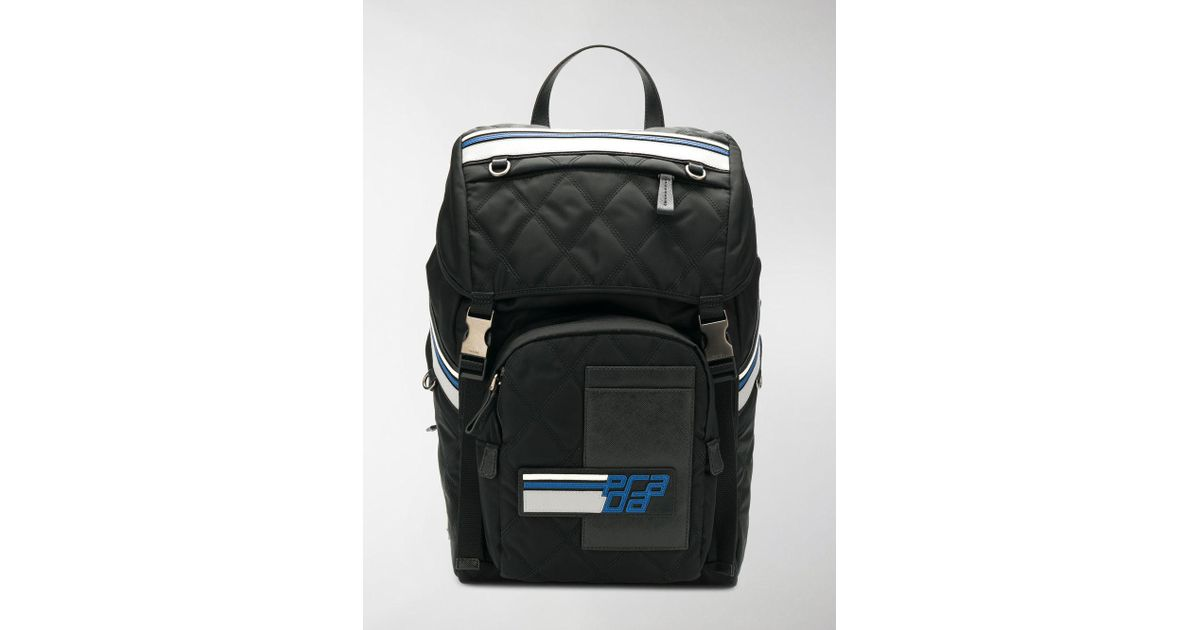 5c0b829c66b9 ... best price lyst prada logo patch backpack in black for men 56d30 5464f