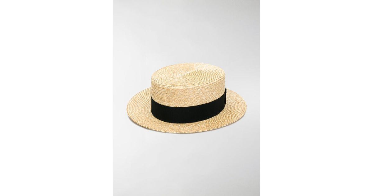 Lyst - Prada Woven Straw Boater Hat in Black ad7e8b0d100d