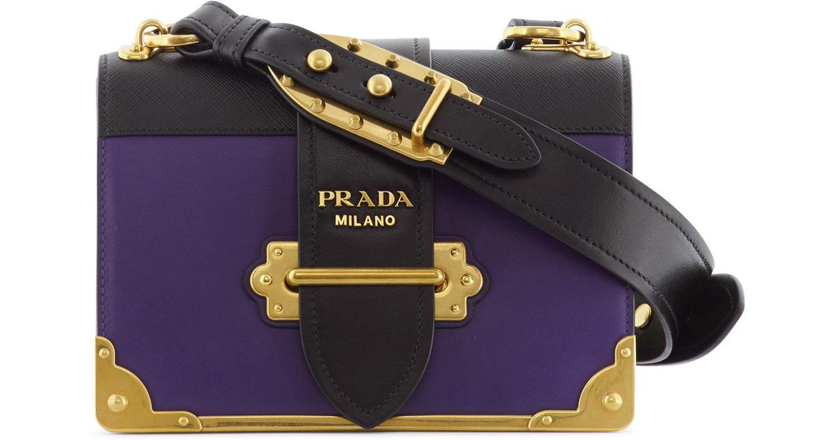 683ad80c05d50d ... netherlands lyst prada cahier two tone leather bag in purple e6200 a58ed