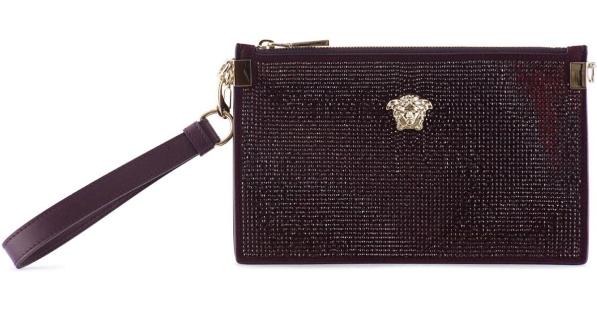 5625053bacd Versace Crystal Embellished Medusa Leather Pouch - Lyst