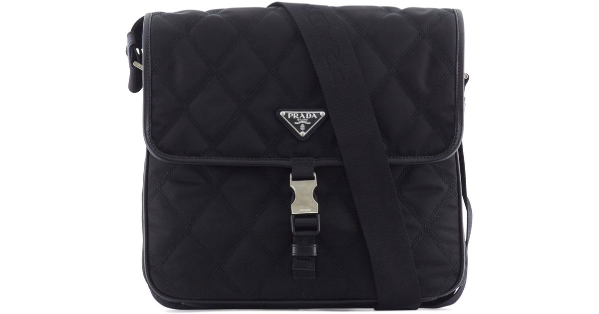 c2c883a0a26c ... official store lyst prada quilted nylon and leather messenger bag in  black for men c31ab fda82 ...