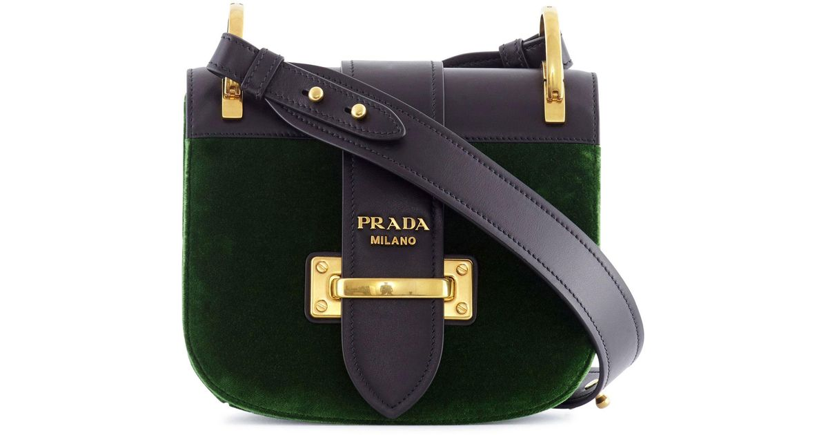 dd7eef189952 ... greece lyst prada pionniere large velvet and leather bag in green 97727  d7b01